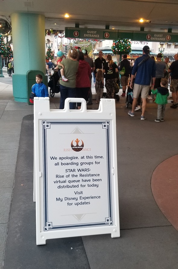 Rise of the Resistance Capacity sign outside of Hollywood Studios