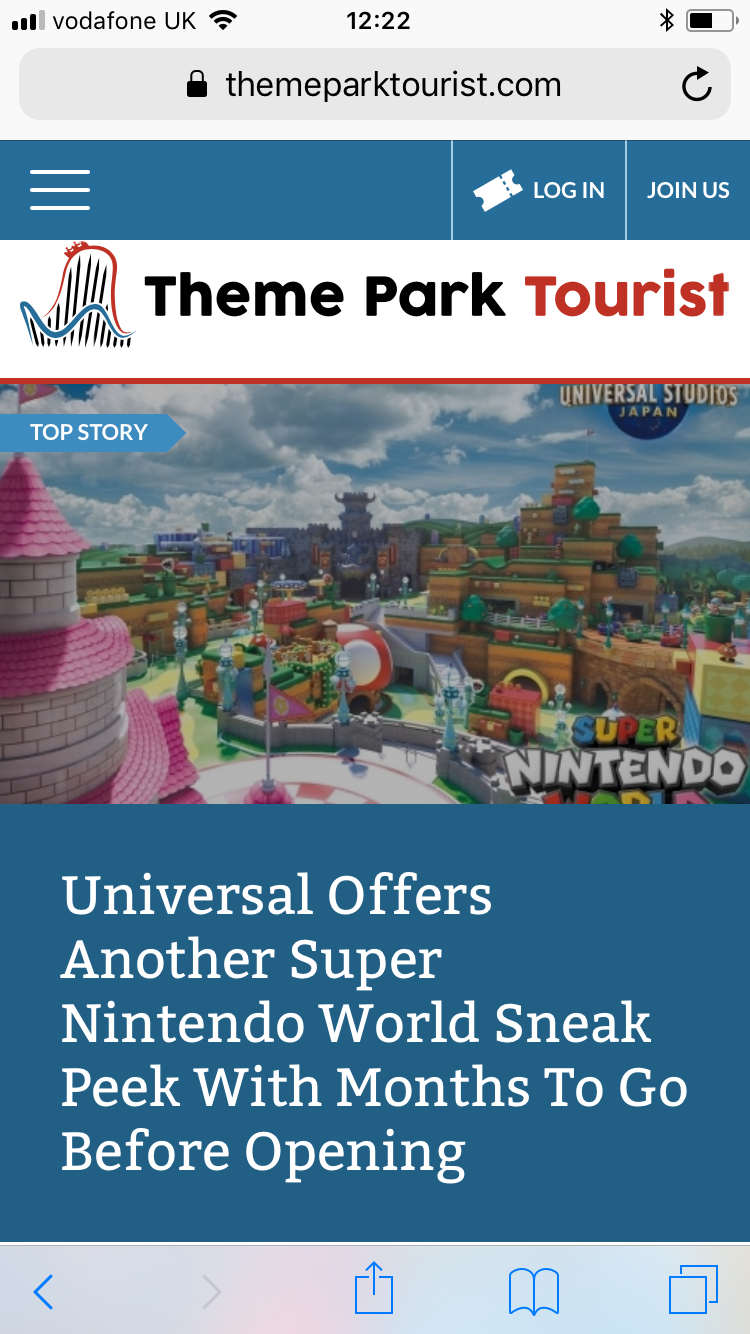Theme Park Tourist Homepage