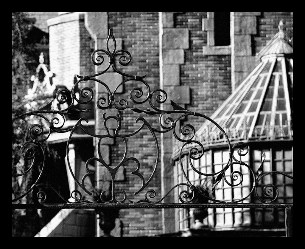 Black and white Haunted Mansion