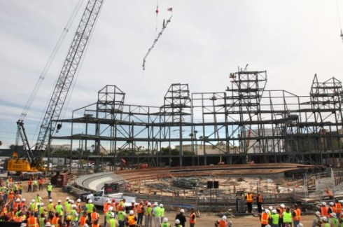Cars Land topping out image