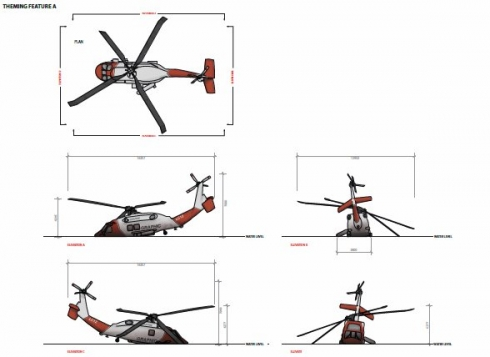 Crashed helicopter design