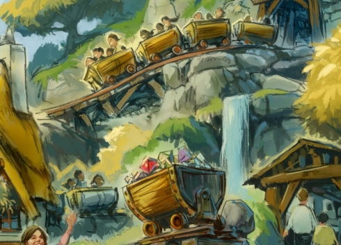 Seven Dwarfs Mine Train vehicle concept art