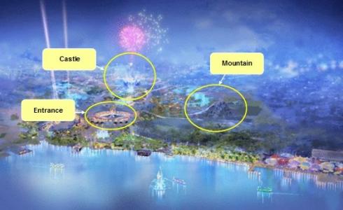 Shanghai Disneyland concept art with landmarks