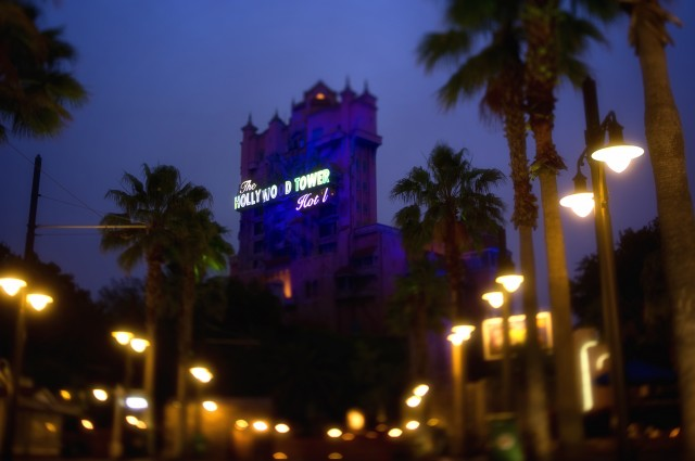 Twilight Zone Tower of Terror at night