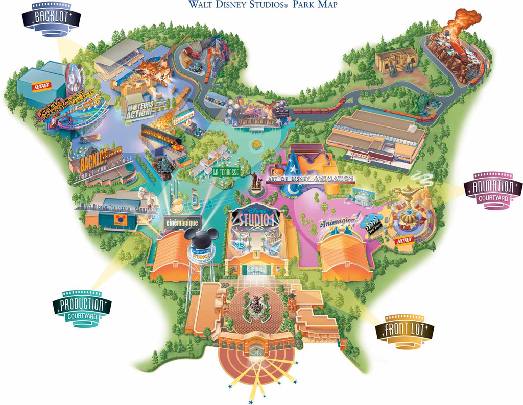 Walt Disney Studios Map 2002 | Theme Park Tourist