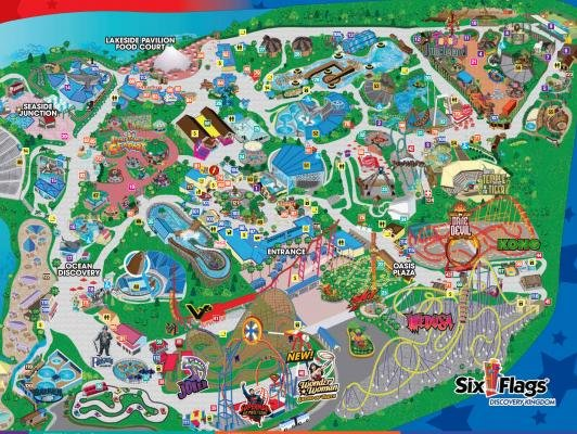 Map of Six Flags Discovery Kingdom