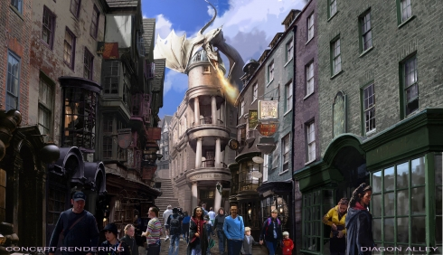 Concept art for the Wizarding World of Harry Potter - Diagon Alley. Image © Universal Orlando Resort