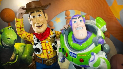 Buzz Lightyear and Woody at Pixar Place