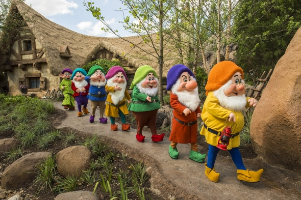 Seven Dwarves marching to mine train