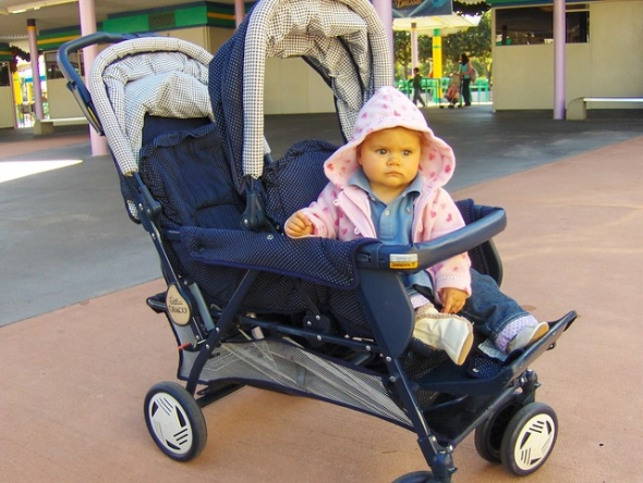 Baby in double stroller