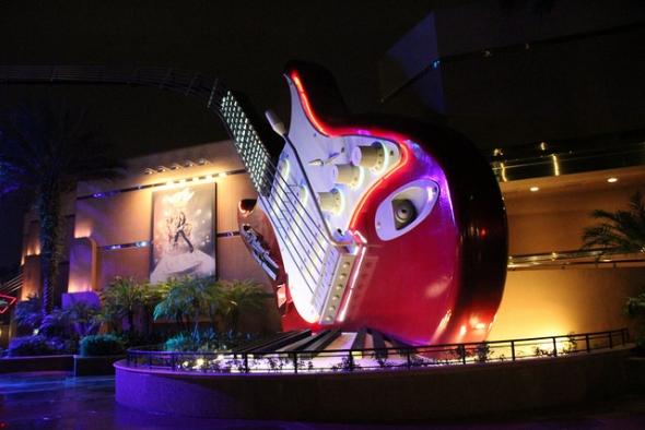 Rockin' Roller Coaster giant guitar at night