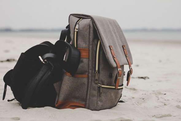 Backpack on beach