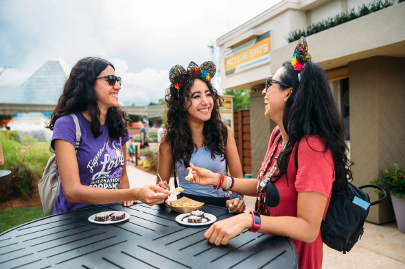 3 women enjoying Epcot food and wine festival