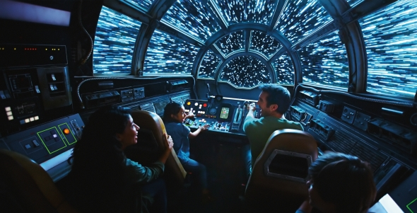 Millennium Falcon cockpit with guests - Going to lightspeed
