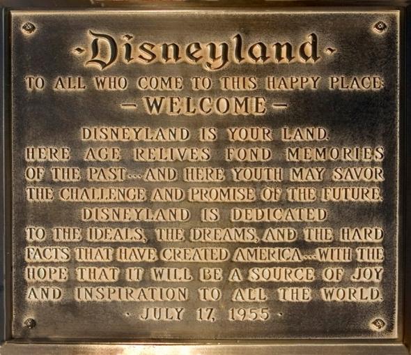 Disneyland dedication