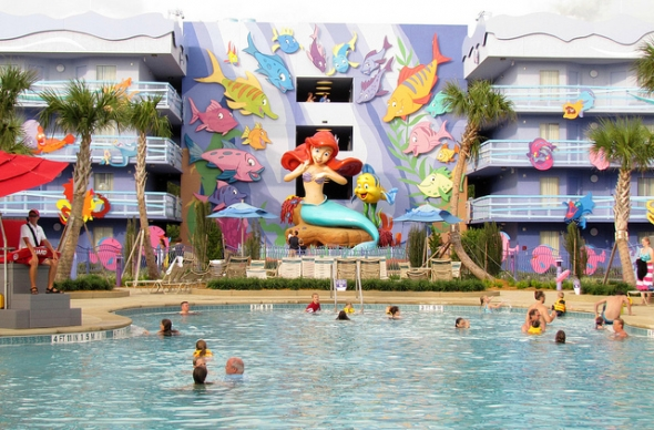 Little Mermaid building and pool area at Art of Animation