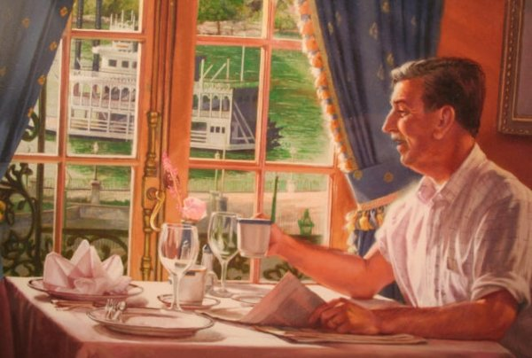 Walt Disney painting at Club 33