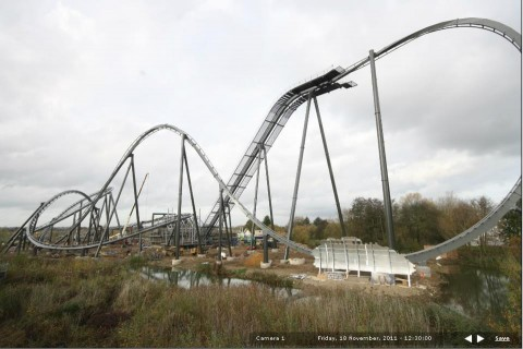 The Swarm rollercoaster construction image