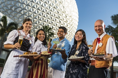 World Showcase Cast Members with food and drinks