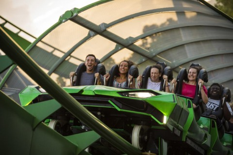 Incredible Hulk Coaster - Riders in front row