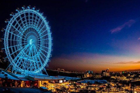 The Wheel at ICON Park lit up at night