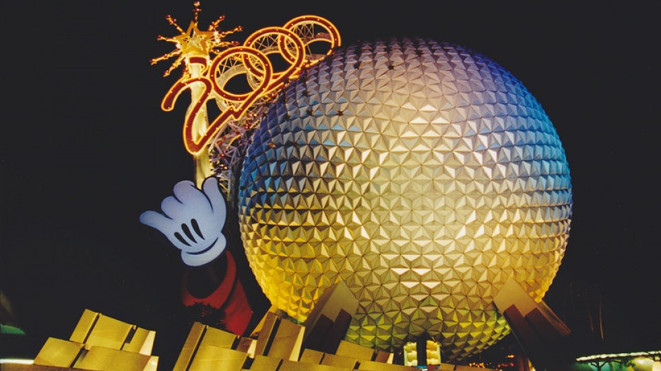 "Epcot with giant wand and ""2000"""