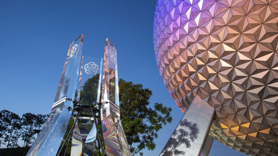 Spaceship Earth with new glass pylons