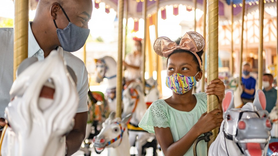 Dad and daughter with masks on carousel