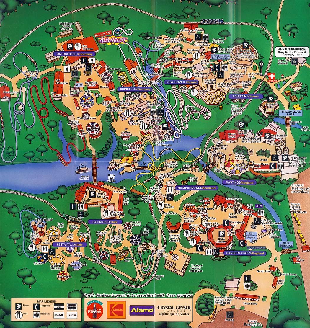 Busch Gardens Williamsburg Map 1997 - How Much Are Quick Queue Passes At Busch Gardens Williamsburg