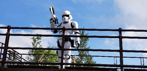 Stormtrooper looking down over outpost