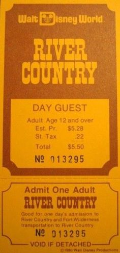1980 River Country day ticket